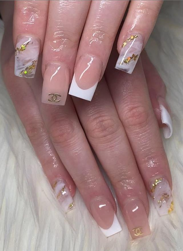 short square nails with a little color
