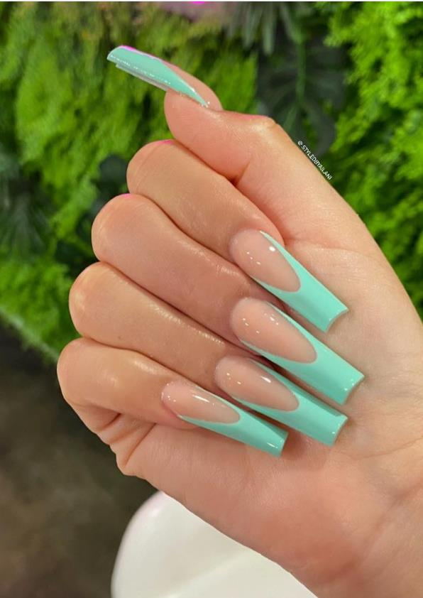 contracted Pastel coffin nails make your summer colorful