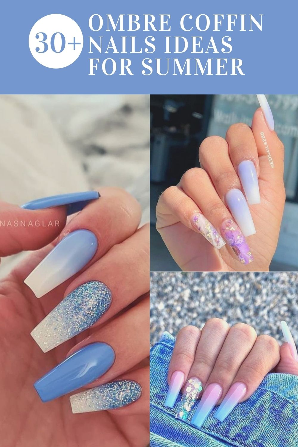 Ombre Coffin Nails In Summer Nail Design
