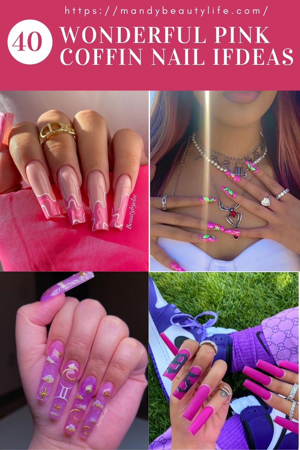 Acrylic Pink Coffin Nails For You When You Go Outdoor!