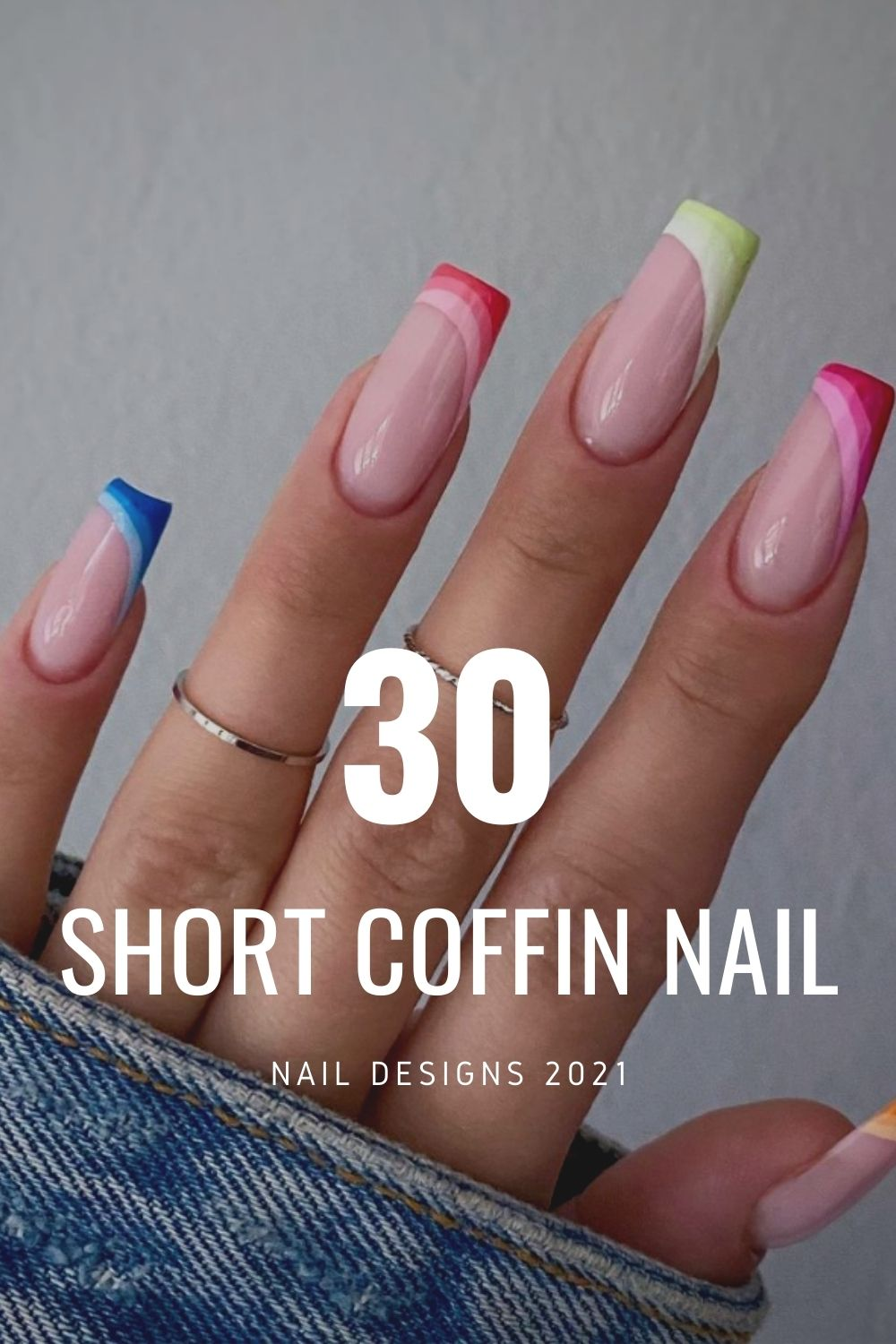 Sweet Candy Short Coffin Nails for Summer nails