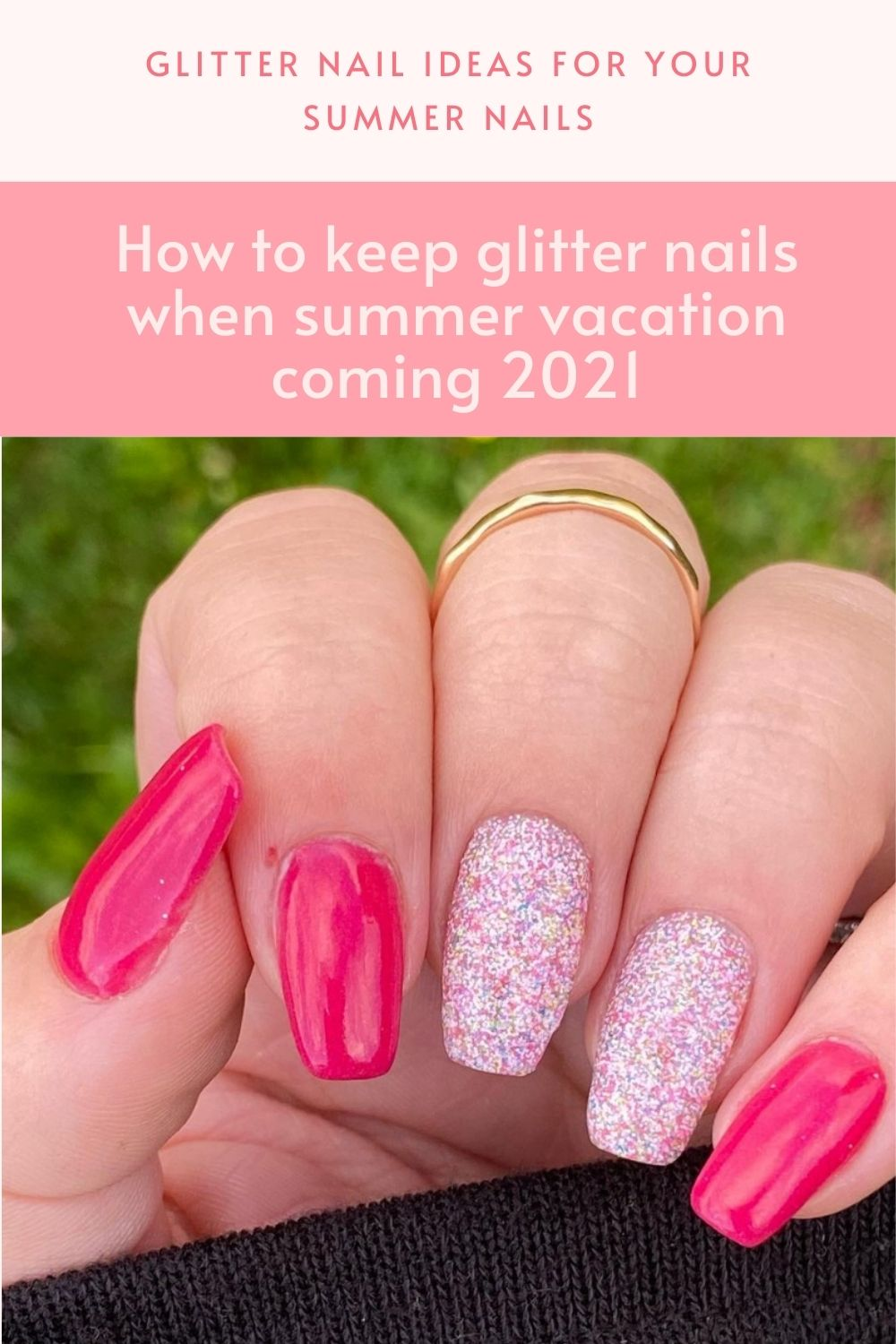 Square nails design with glitter decoration upgrade your looks in summer 2021