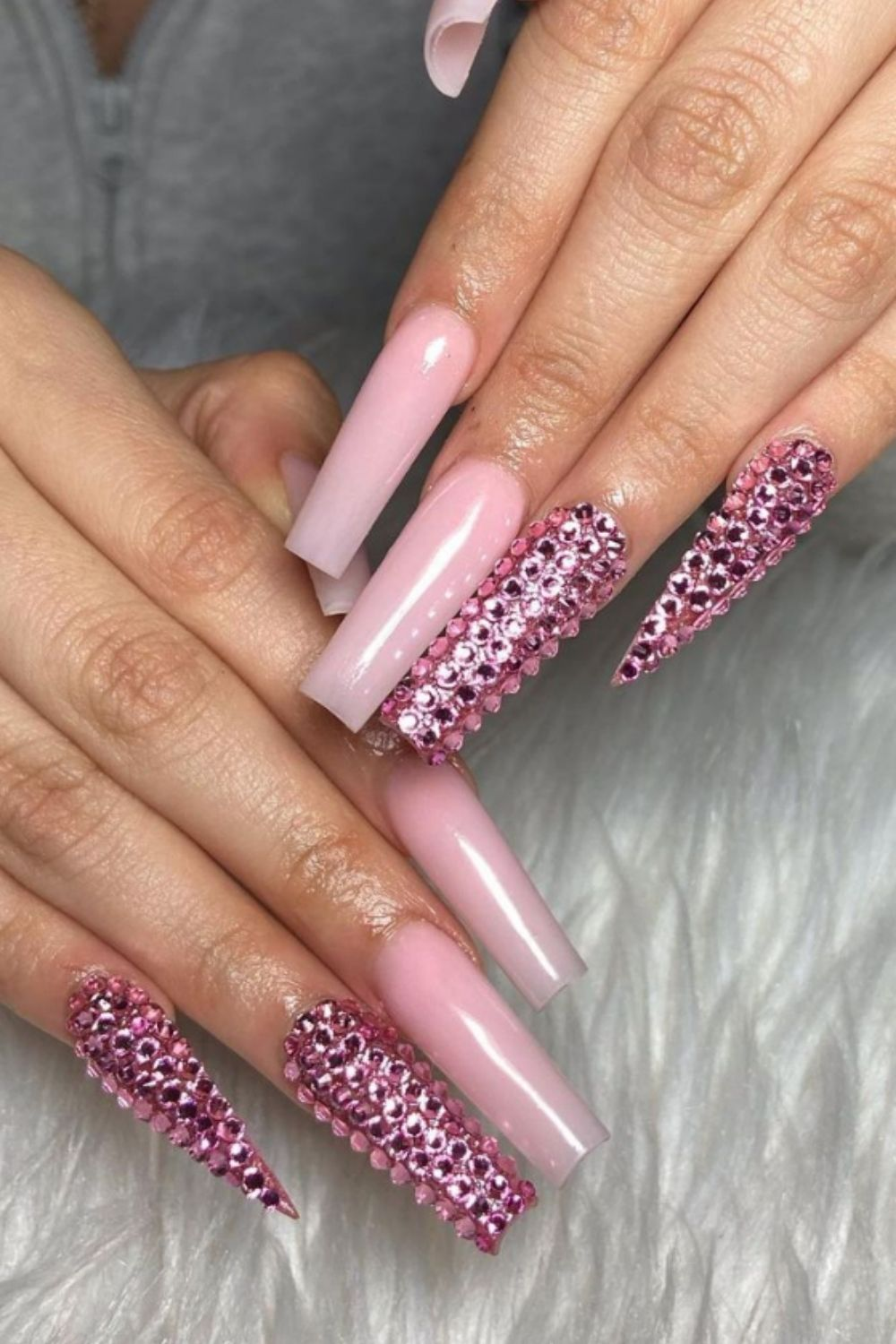Bling Acrylic Coffin Nail with Rhinestone for Your Summer Vacation
