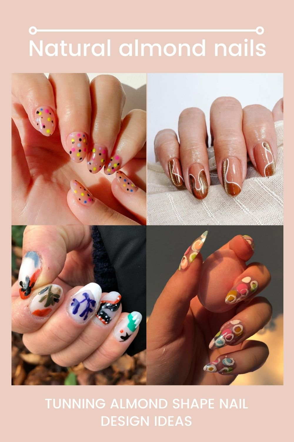 Natural almond nails | Amazing almond-shaped nail design ideas