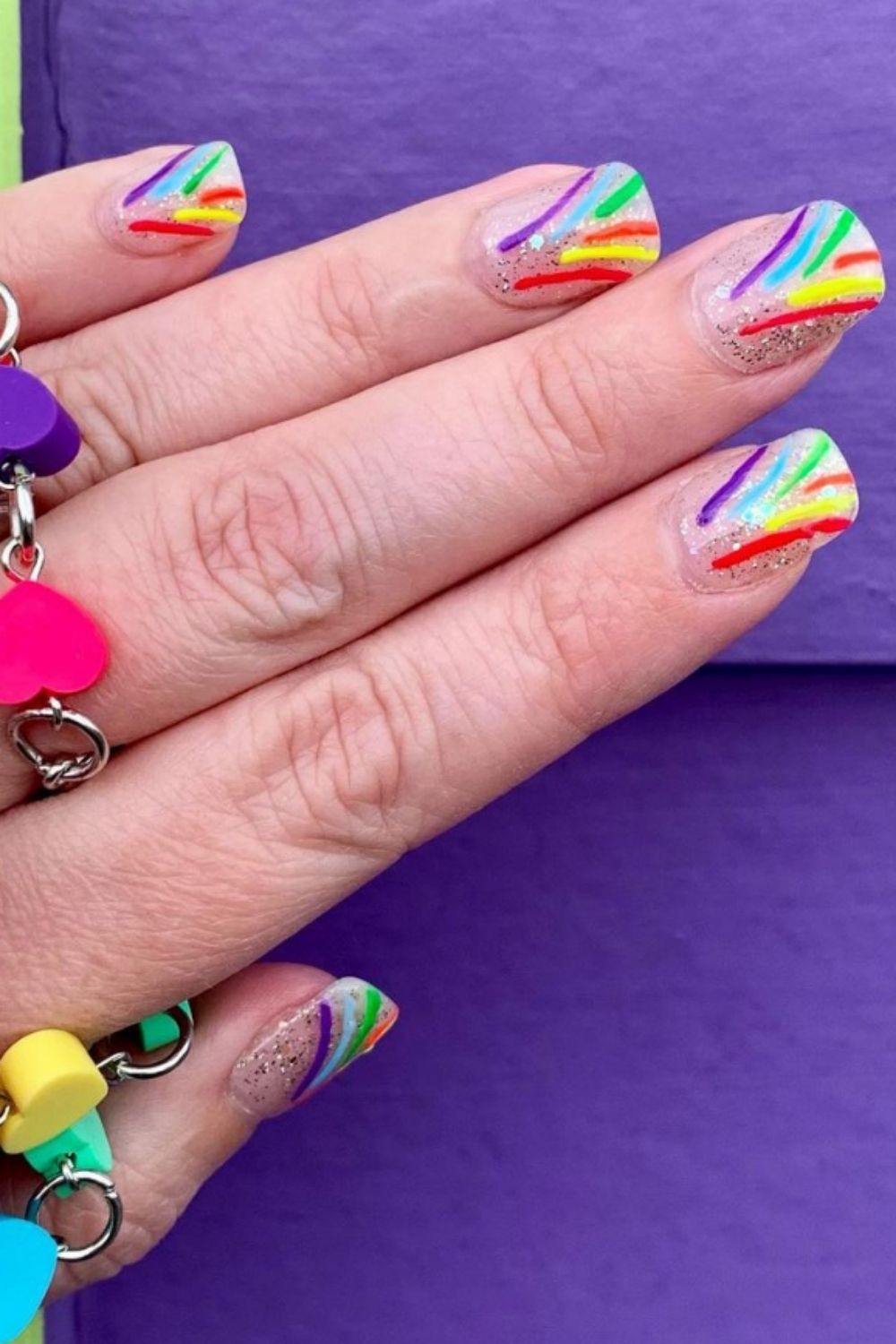Rainbow acrylic nails | Here's How to Take Part in the Trend