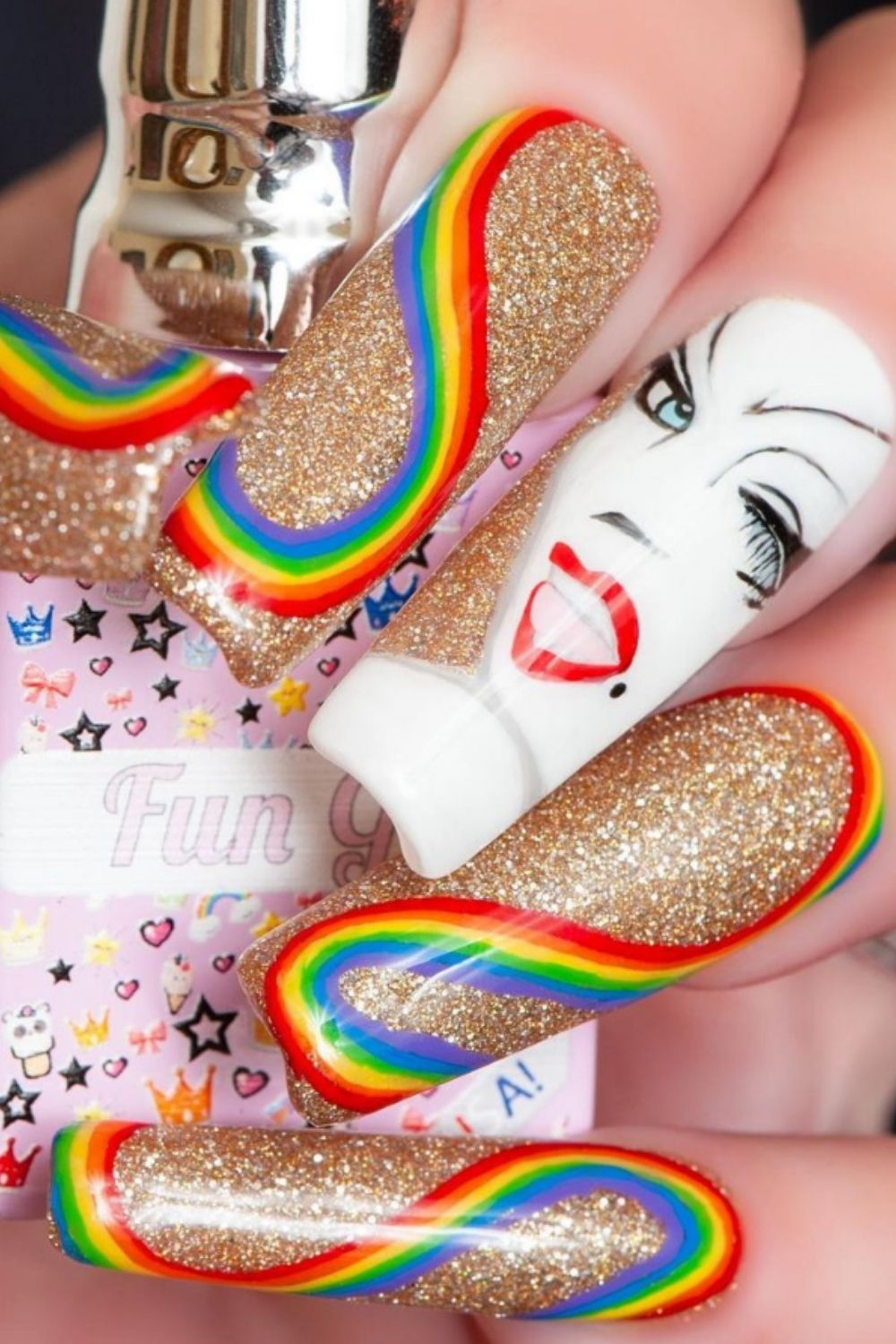 Rainbow acrylic nails   Here's How to Take Part in the Trend