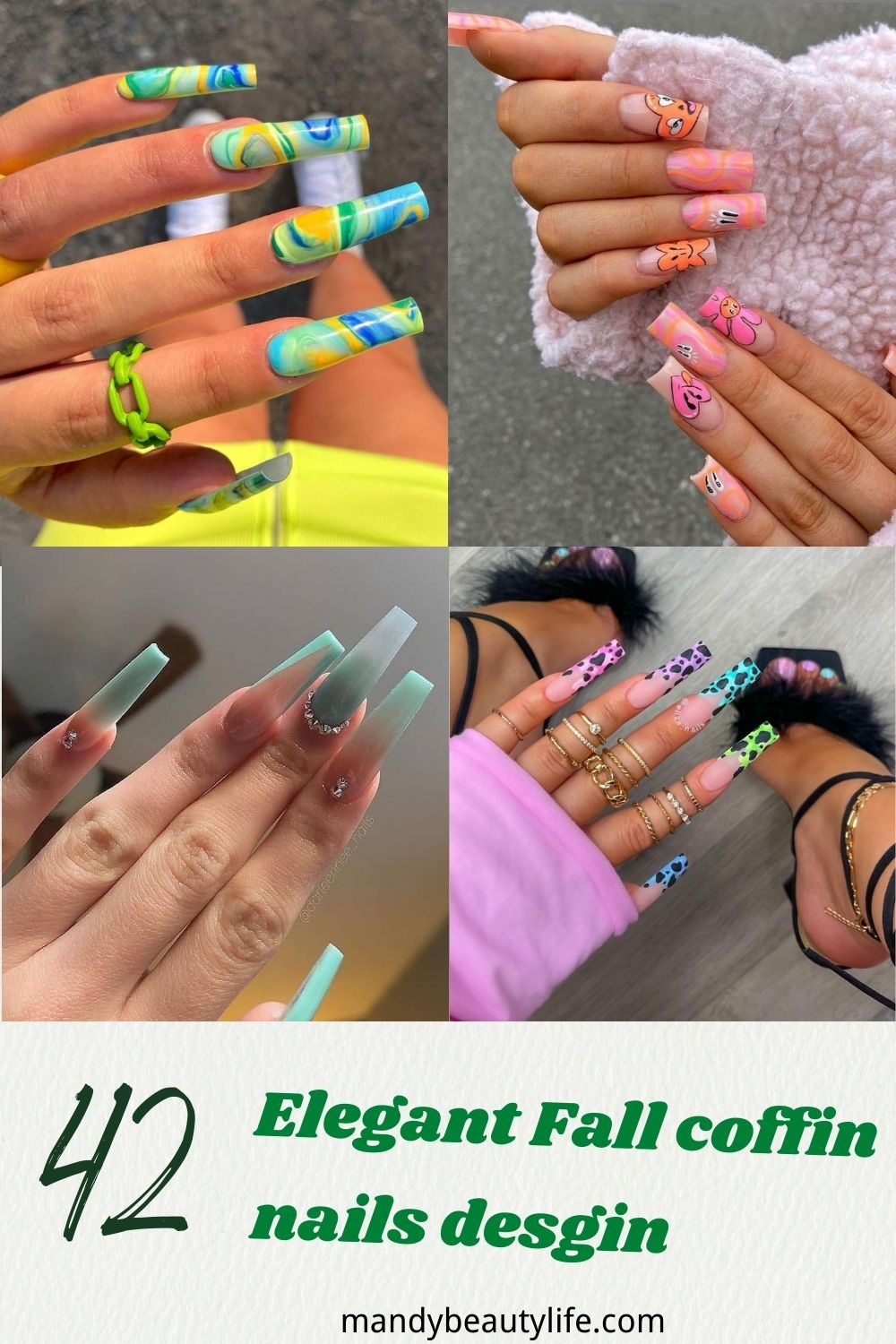 Fall coffin nails 2021 ideas with glitter, rhinestone, ombre nail color to try