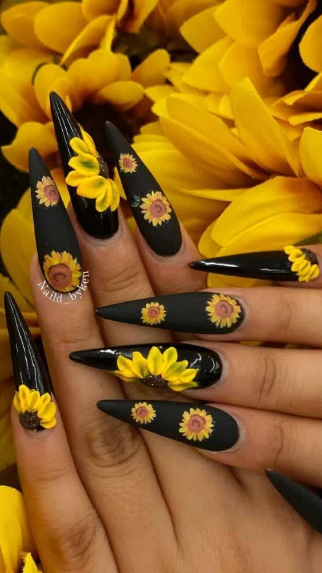 Sunflower nails   flower nails fall and spring nails ideas